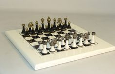 White & Black metal chess set