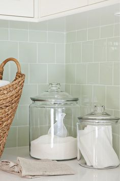 Green Glass Tile Backsplash - Design photos, ideas and inspiration. Amazing gallery of interior design and decorating ideas of Green Glass Tile Backsplash in dens/libraries/offices, bathrooms, laundry/mudrooms, kitchens by elite interior designers. Laundry Room Organization, Laundry Storage, Laundry Room Design, Laundry In Bathroom, Storage Shelves, Laundry Rooms, Storage Ideas, Mud Rooms, Laundry Detergent Storage