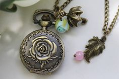 Victorian Romance Rose Pocket Watch Necklace with Umbrella and Rose Charm - Rose watch necklace
