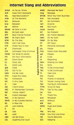 Tech Discover English Vocabulary : Popular Texting Abbreviations and Internet Acronyms The Words Words To Use Learn English Words English Vocabulary Words Math Vocabulary Sms Language English Language Learning Teen Slang Text Abbreviations English Vocabulary Words, Learn English Words, English Idioms, English Grammar, Slang English, Korean English, Math Vocabulary, The Words, Words To Use