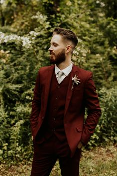 Hope + Austin's Romantic Wedding from The Copper Quail Fall Wedding Suits, Wedding Tux, Maroon Wedding, Wedding Attire, Diy Wedding, Wedding Favors, Wedding Dress, Groom Outfit, Groom Attire