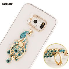 S6 edge Luxury 3D Rhinestone Clear Case for Samsung Galaxy S6 Edge G9250 phone Case Cover + Finger Rotated Ring Holder Stand