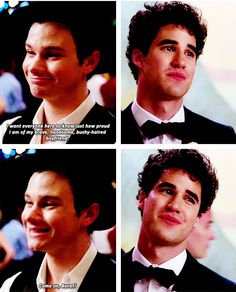How adorable was this? Kurt knows how self-conscious Blaine is about his hair but he loves him and is proud to be with him and wants to dance with his boyfriend at their prom. They really are perfect for each other.
