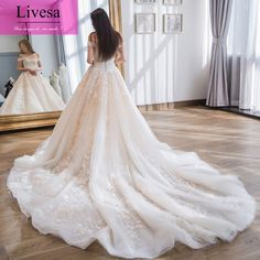Robe de mariage Boat Neck Off the Shoulder Long Cathedral Train Light Pink Lace Wedding Dresses 2017 Livesa Design 1728