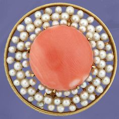 Italian coral and seed pearl pin. yellow gold pin featuring a coral cabochon surrounded by seed pearls, circa Italian. This pin measures 1 round. Coral And Gold, Coral Turquoise, Red Coral, Aqua, Victorian Jewelry, Antique Jewelry, Vintage Jewelry, Fine Jewelry, Jewelry Making