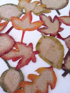 Burlap leaves with a tip to keep burlap from fraying (modge podge the outlines before you cut).
