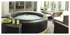 Portable indoor or outdoor hot tub is great fun - Best Home Designs Shell Structure, Jacuzzi Bath, Portable Spa, Whirlpool Tub, Cool House Designs, Outdoor Areas, Swimming Pools, Indoor, Luxury