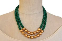 green beaded necklace / dark green statement necklace / green and gold / bridesmaid necklace / emera Pearl Necklace Designs, Beaded Jewelry Designs, Gold Jewellery Design, Bead Jewellery, Beaded Necklace, Jewelry Necklaces, Silver Jewellery, Pearl Jewelry, Silver Ring