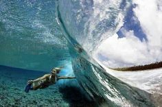 Amazing ocean wave scuba diving photography shot