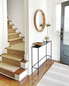 entryway decor small entrance \ entryway decor & entryway decor small & entryway decor modern & entryway decor farmhouse & entryway decor elegant & entryway decor ideas & entryway decor with bench & entryway decor small entrance Entryway Stairs, Modern Entryway, Entryway Ideas, Small Entryway Decor, Small Staircase, Small Hallway Decorating, Modern Staircase, Small Apartment Entryway, Entryway Runner
