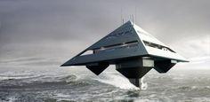 """Arquiteto projeta iate futurista com formato de """"pirâmide voadora""""; veja"""