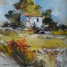 """"""" le vieux moulin """" peinture originale réalisée au couteau"""
