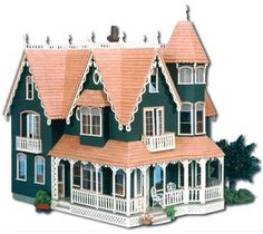 Grandiose and gorgeous, the Garfield makes quite a statement. This sizable dollhouse will take your breath away with its stunning roofline with multiple gables and gingerbread trim. You'll also enjoy