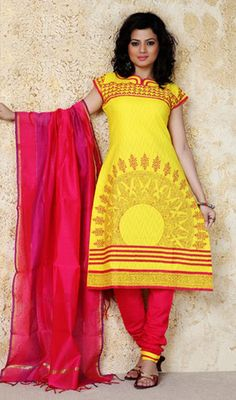 Classy Yellow Printed Cotton Churidar Kameez Price: Usa Dollar $84, British UK Pound 50£, Euro62, Canada CA$91 , Indian Rs4536.