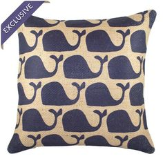 Whales Pillow in Navy