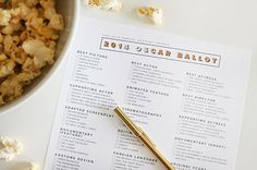 Get these printable voting ballots for a fun Oscars party activity.