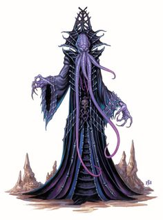 Desuellamentes or illithid. It is a dark, evil and incredibly inhuman creature that feeds on human and humanoid brains. It is also known as illithid. Physically it has mauve skin and your mouth go 4 an Octopus-like tentacles. In combat, he uses one or more tentacles that hits the brain of his opponent until it reaches the time shoots him and kills his victim.