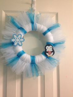 Tulle Wreath  Winter by SparkleShineCrafts on Etsy, $25.00