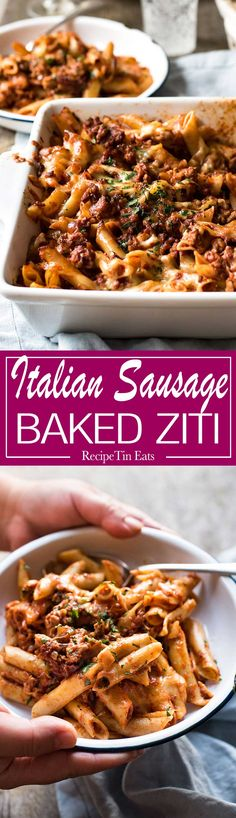 Ziti baked in a luscious tomato sauce loaded with Italian Sausage and topped with cheese - of course!!