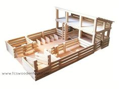 Toy Stockyard Corral with stalls-ramps-gates and large Loft Popsicle Stick Crafts, Craft Stick Crafts, Wood Crafts, Play Horse, Toy Barn, Horse Stables, Horse Horse, Horse Shelter, Horse Fence