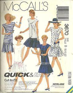 McCall 3670 80s Drop Waist Dress