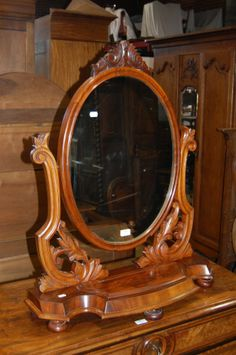 Antique Victorian mahogany toilet mirror, with glove compartment