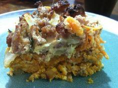 Sweet Potato, Egg and Sausage Breakfast Casserole close up