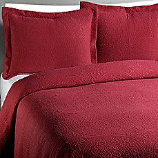 Vue™ Royal Medallion Matelasse Burgundy Coverlet, 100% Cotton