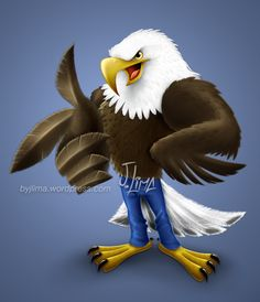 """Software: Procreate for iPad and Pixelmator. Art by: J. Lima See details: [gallery type=""""square"""" Order this mascot design: Cartoon Design, Cartoon Art, Jungle Book Vultures, Eagle Cartoon, Eagle Logo, Mascot Design, Animal Drawings, Art Drawings, Illustrations And Posters"""