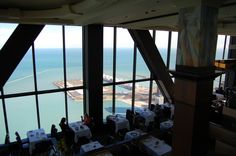 It's got a great view. And it's free. What is it? The Signature Lounge at the 96th floor of the John Hancock Center. It sits above the Signature Room