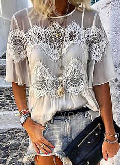 Casual Lace See-Through Round Neck Halflong Sleeves Half Sleeve Shirts, Half Sleeves, Lace Outfit, Chiffon, Ideias Fashion, Fashion Ideas, Casual Outfits, Beach Outfits, Dress Up