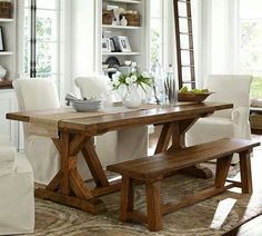 Farmstyle table with bench