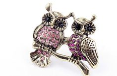 Exquisite jewelry owls on branch ring - PINK DIAMOND - $4.99USD