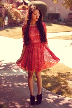 red lace. black wedges