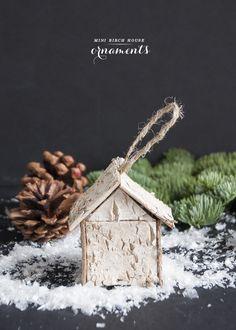Mini birch house ornaments