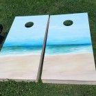 Hand painted Beach/Ocean theme Cornhole Board Set