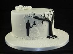 Add a silhouette of Dominic too for 10 year anniversary cake. Small Wedding Cakes, Beautiful Wedding Cakes, Gorgeous Cakes, Wedding Cake Designs, Pretty Cakes, Cake Wedding, Elegant Wedding, Rodjendanske Torte, Silhouette Cake