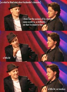 James McAvoy and and Michael Fassbender being cute about Magneto :P