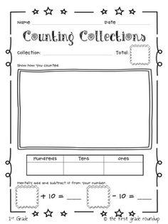 COUNTING COLLECTIONS PACKET - Resources for K, 1st and 2nd.  Great for helping students build number sense.  Weekly activity to be done all year long. Tied to 13 K-2 CC Standards.  TeachersPayTeachers.com