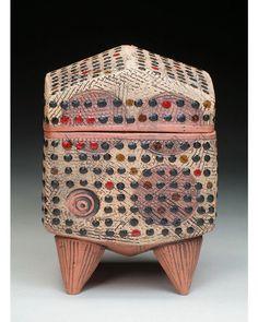 Andrea Box. #ceramics #ceramicbox #functionalceramics #ceramicart #finecraft #footedbox #dots #circlesanddots #engobe #underglaze #texture #contemporarycraft