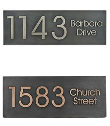 Custom street sign made to brighten up the outside of your home. You decide the Metal Finish (see the finish chart in the picture), Type Style (Raised or Recessed), and Message. | Made on Hatch.co