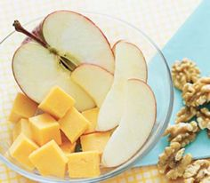 Fruit and Cheese A balanced, easy-to-assemble make-ahead morning meal: Grab an apple, wrap 1 to 2 ounces of Cheddar in plastic, and toss ¼ cup of fiber- and protein-rich walnuts into a resealable plastic bag.
