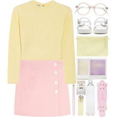 Pastels: Mini skirt by monicanne on Polyvore featuring mode, Miu Miu, Zara, Bella Freud, Seletti, Waterman and Holga