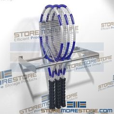 Tennis Racket storage racks mount on wall and hold multiple tennis racquets from bottom rather than top