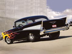 57 chevy with flames....