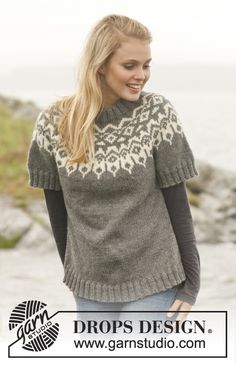 Drops 150-31, Knitted jumper with round yoke and pattern in Nepal