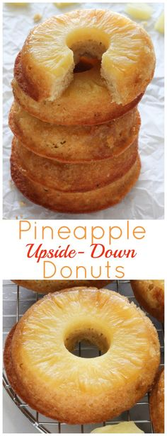 Sweet and buttery, these baked pineapple upside-down donuts are sure to be a hit! Ready in less than 20 minutes. Pineapple Upside-Down Donuts - Pineapple Upside-Down Donuts - Baker by Nature No Bake Desserts, Just Desserts, Delicious Desserts, Dessert Recipes, Yummy Food, Cake Recipes, Healthy Food, Healthy Donuts, Baking Desserts