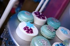 Frozen Themed Chocolate Covered Oreos and Macarons.