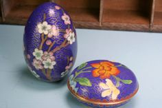 Blue Flowered Cloisonne Enamel Brass Box & Egg Free Shipping  by andantiques, $32.00