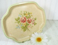 Avon Florals Metal Tray  Vintage Made in England by DivineOrders, $9.00
